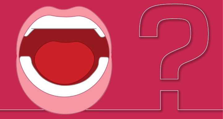 cartoon drawing of an open mouth in front of a hot pink background next to a question mark