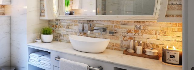 a clean rustic bathroom showing the sink and counter area