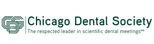 A logo for the Chicago Dental Society with the words written out next to it.
